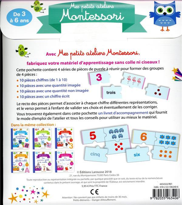 mes petits ateliers Montessori ; mes chiffres à assembler