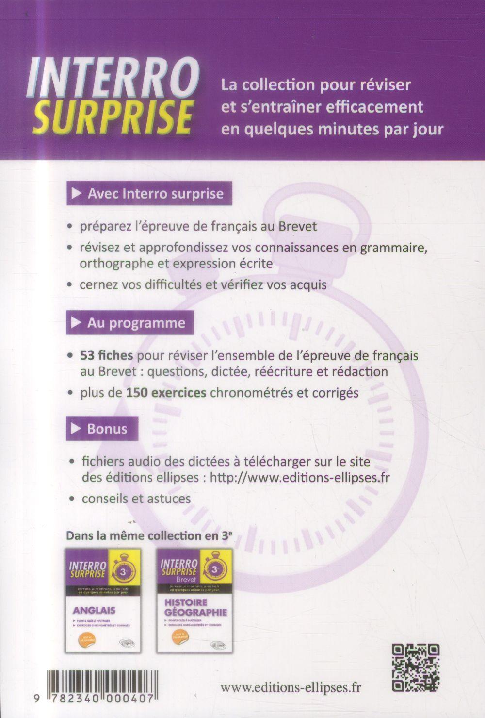 Interro Surprise Francais 3eme Points Cles A Maitriser Exercices Chronometres Et Corriges Clelia Renucci Ellipses Grand Format Comme Une Orange Paris
