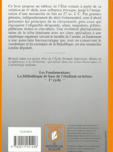 Institutions et citoyennete de la rome republicaine