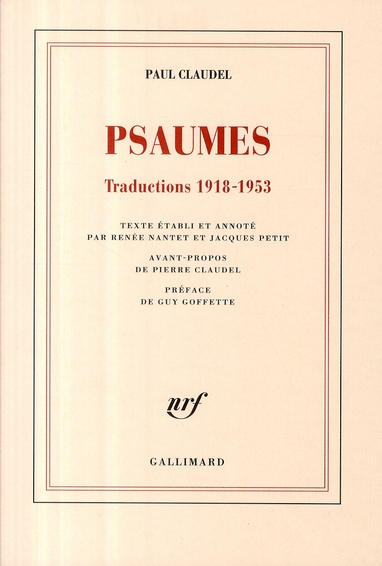 Psaumes ; traductions 1918-1953