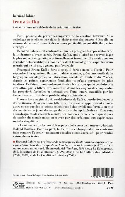 Franz Kafka ; éléments pour une théorie de la création littéraire