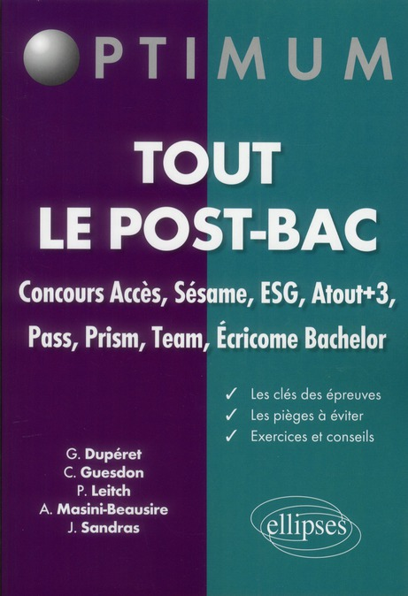 Le Concours Sesame-Acces & Ecoles Post-Bac Epreuves & Methode