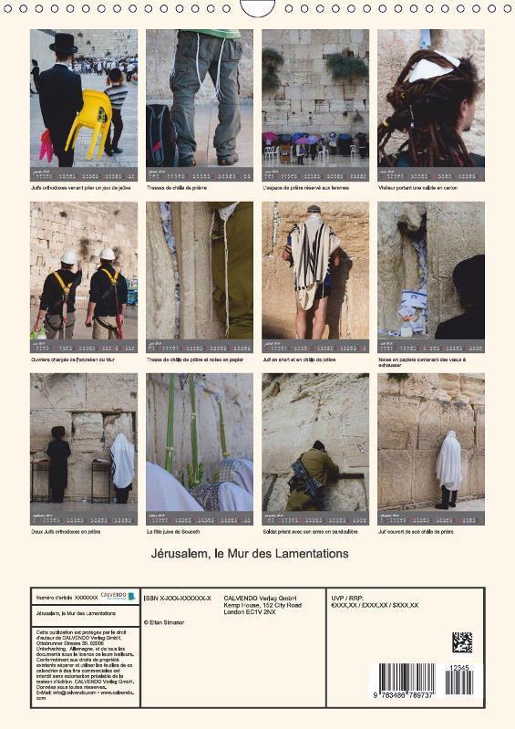 Jérusalem, le Mur des Lamentations (calendrier mural 2017 DIN A4 vertical)