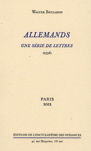 Allemands, une série de lettres
