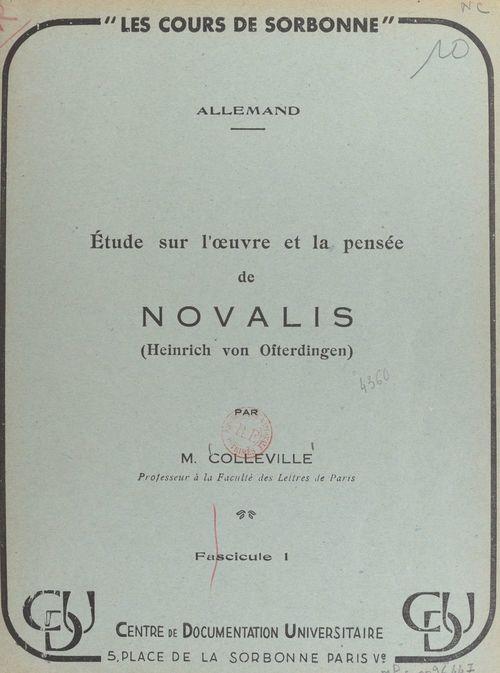 Étude sur l'oeuvre et la pensée de Novalis (Heinrich von Ofterdingen) (1)