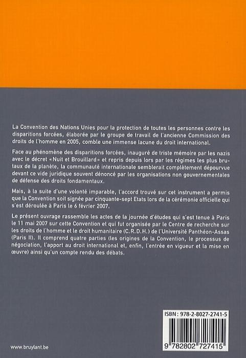 Convention pour la protection de toutes les personnes contres les disparitions forcées
