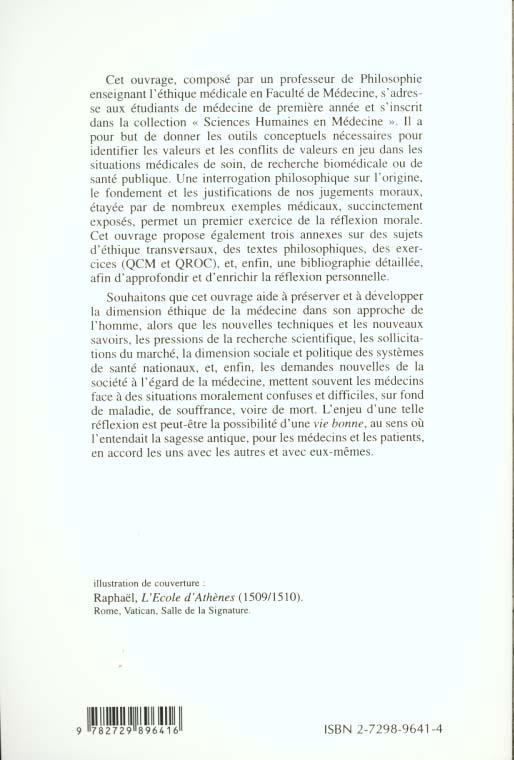 Fondements philosophiques de l'ethique medicale (prix maurice rapin)