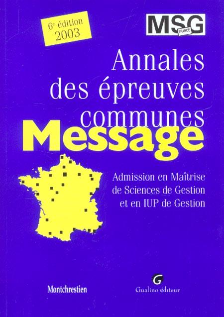 Annales des epreuves communes messages 2003