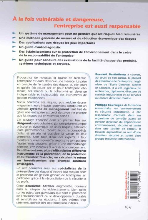 Gestion des risques ; méthode d'optimisation globale (2e édition) (2e édition)