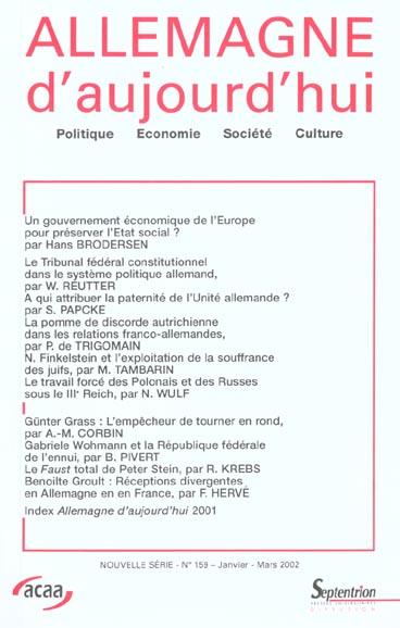 Revue allemagne d'aujourd'hui n.159
