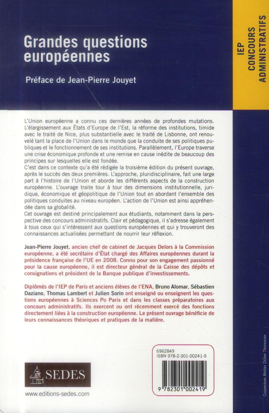 Grandes questions européennes ; IEP ; concours administratifs (3e édition)