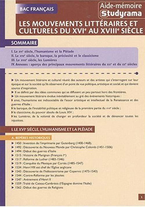 Mouvements Litteraires (Les)  (Bac Francais)