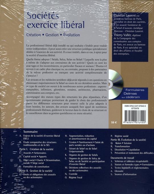 Sociétés d'exercice libéral ; création, gestion, évolution (5e édition)