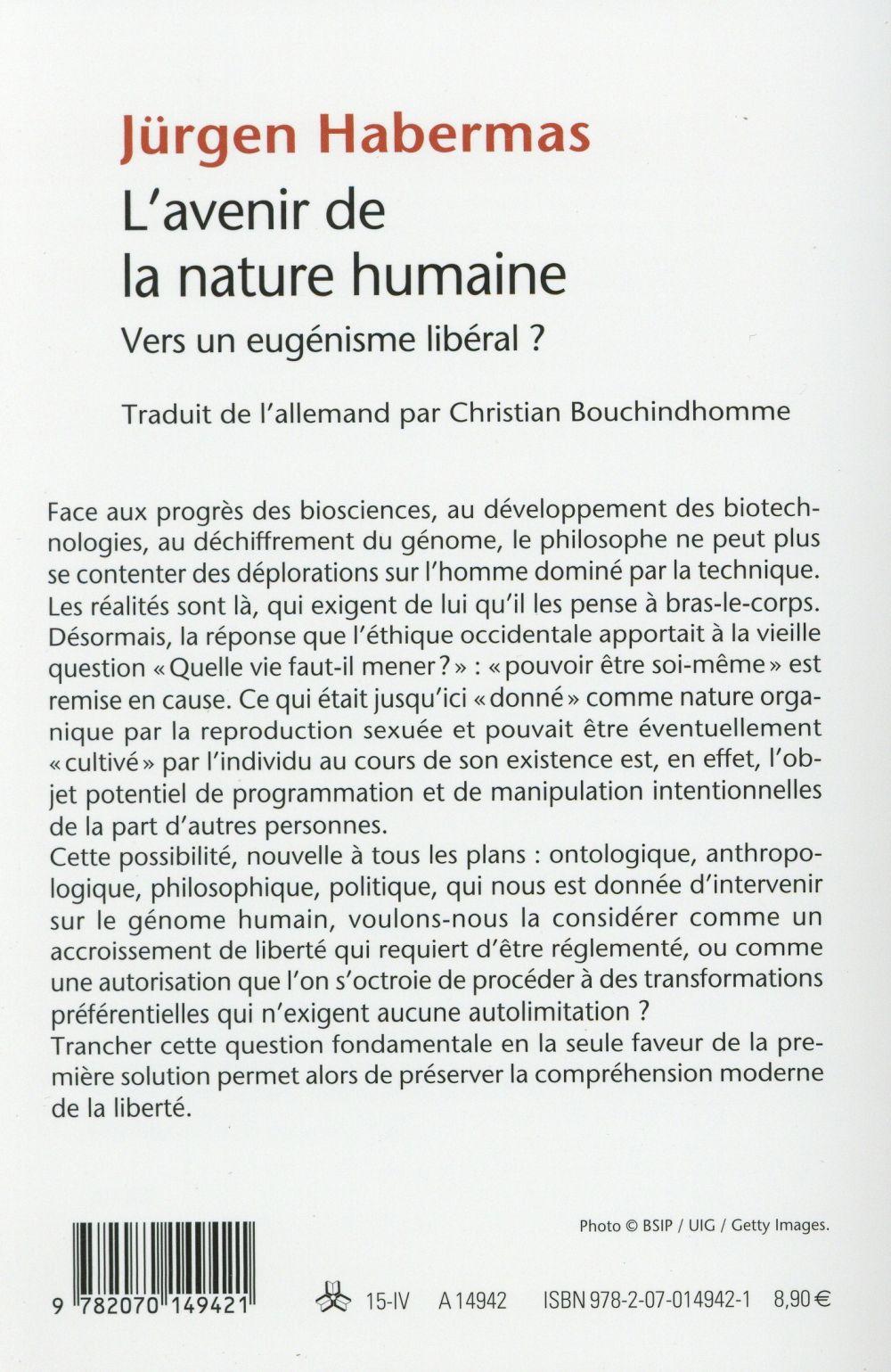 l'avenir de la nature humaine ; vers un eugénisme libéral ?