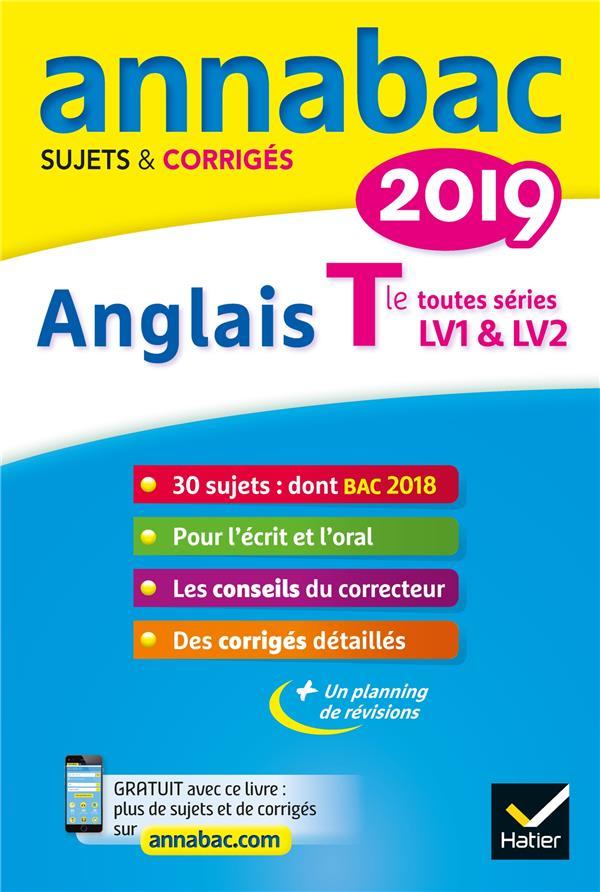 ANNABAC SUJETS & CORRIGES ; anglais ; terminale toutes séries ; LV1 et LV2 (édition 2019)
