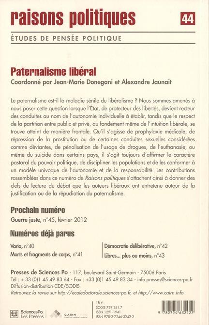 Revue raisons politiques t.44; paternalisme liberal