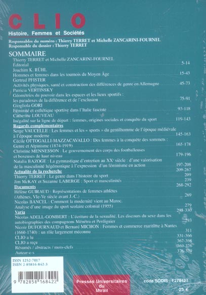 Genre du sport. revue clio n 23