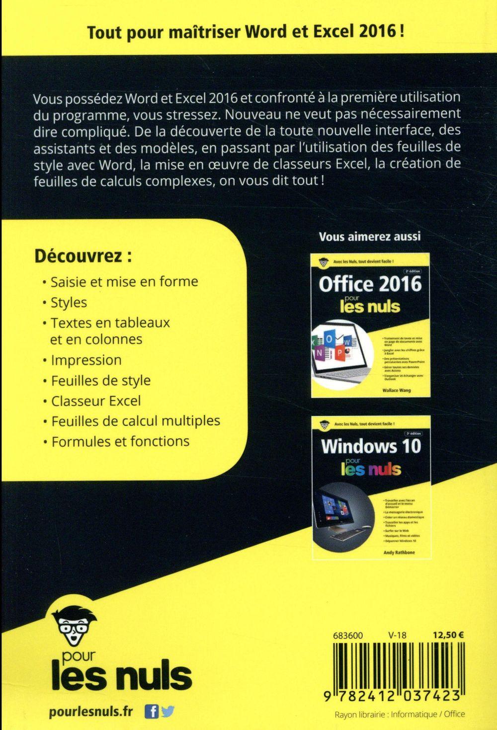 Word et Excel pour les nuls (édition 2016)