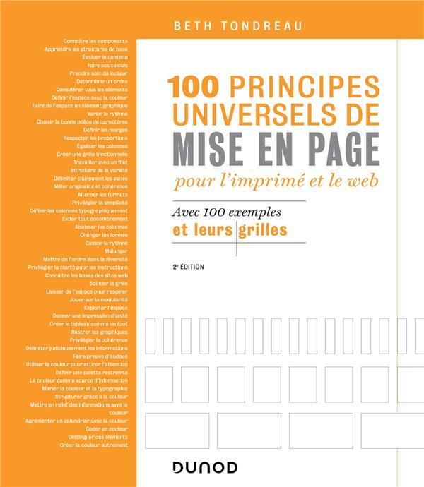 100 principes universels de mise en page pour l'imprimé et le web ; avec 100 exemples et leurs grilles (2e édition)