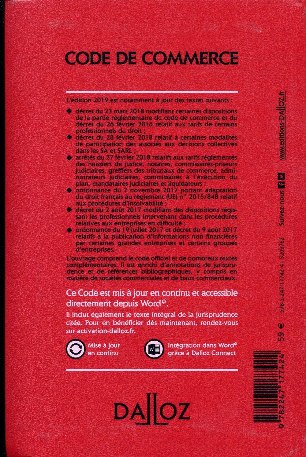 Code de commerce annoté (édition 2019) (114e édition)