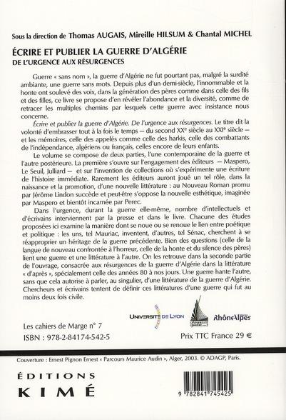 écrire et publier la guerre d'Algérie ; de l'urgence aux résurgences