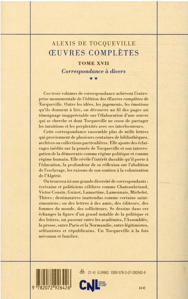 Oeuvres completes t.17 : correspondance à divers t.2