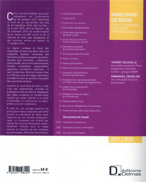 Marchand de biens ; statut juridique, pratiques professionnelles (édition 2021/2022)