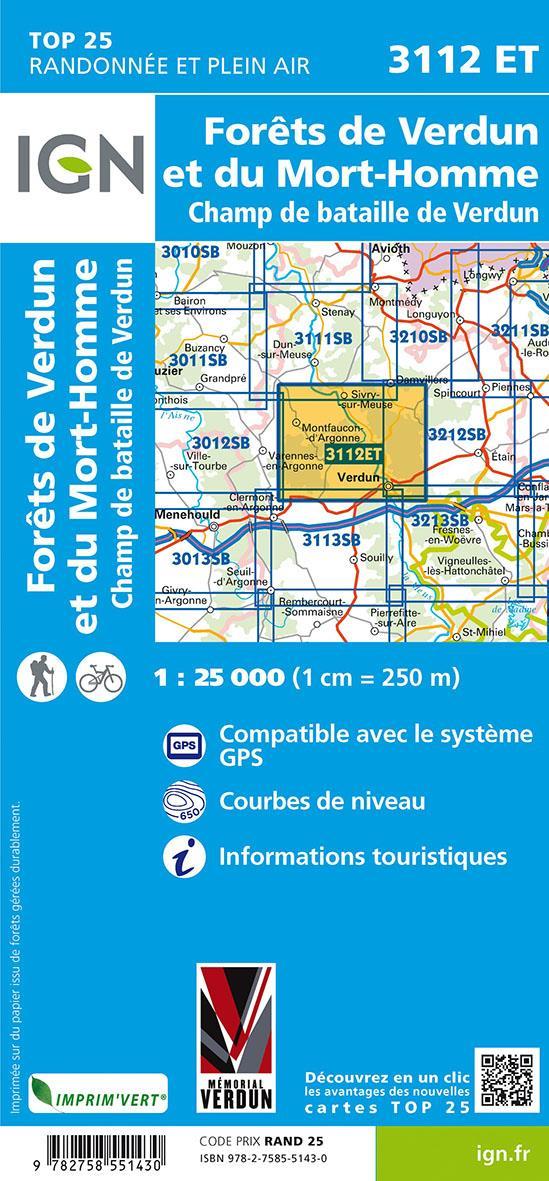 3112ET ; forêts de Verdun et du Mort-Homme ; champ de bataille de Verdun (4e édition)