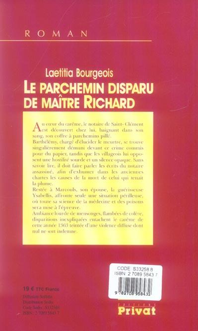 Le parchemin disparu de maître Richard
