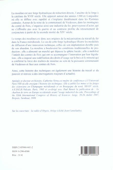 Le temps des moulines - fer, technique et societe dans les pyrenees centrales (xiiie-xvie siecles)