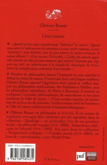 L'anti-nature ; éléments pour une philosophie tragique (5 édition)