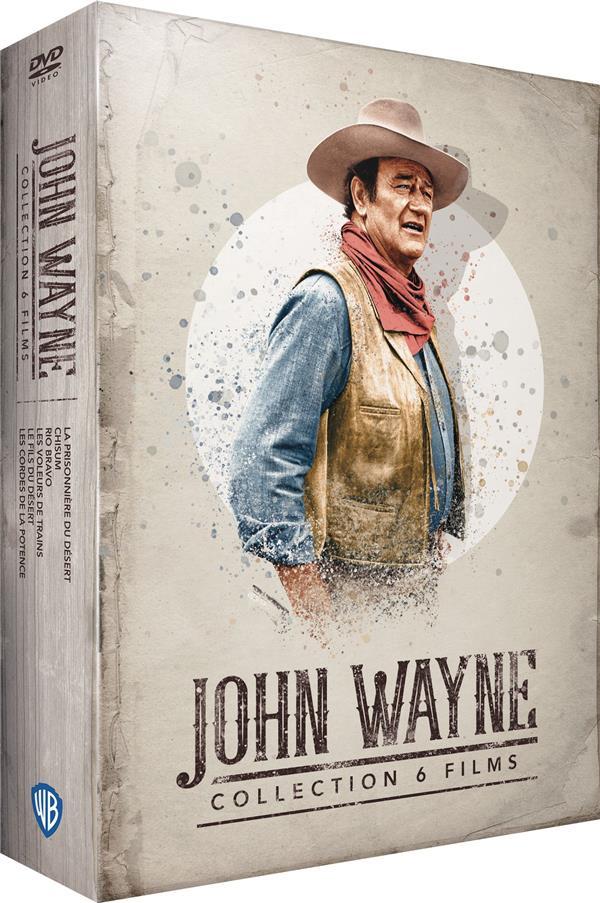 John Wayne- 6 films : La prisonnière du désert + Chisum + Rio Bravo + Voleurs de trains + Le fils du désert + Les cordes de la potence