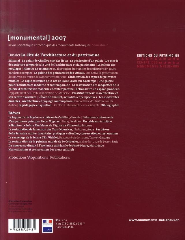 MONUMENTAL n.2007/1 ; cité de l'architecture et du patrimoine
