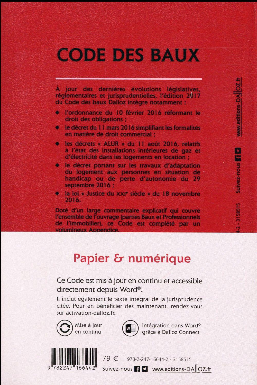 Code des baux ; commenté (édition 2017)