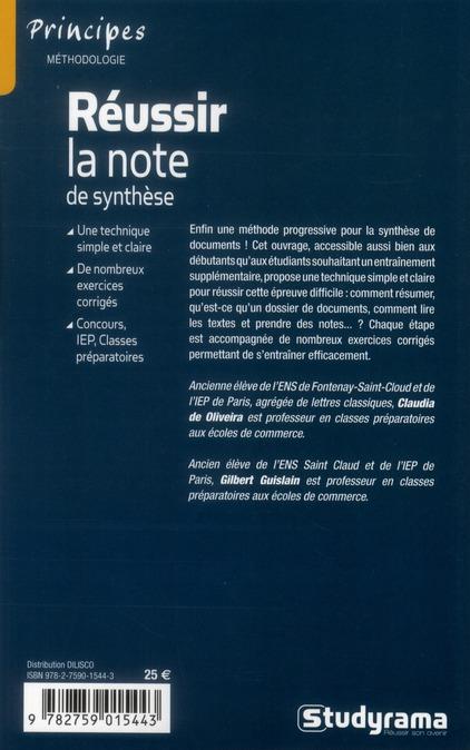 Reussir La Note De Synthese 4e Edition Gilbert Guislain Jeunes Editions Studyrama Grand Format Librairie Des Sciences Politiques Paris