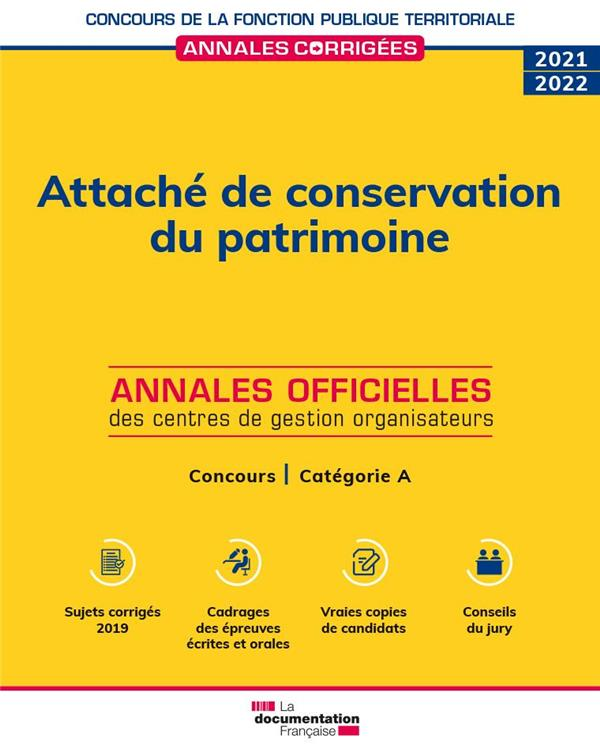 attaché de conservation du patrimoine ; concours de catégorie A, concours externe, interne, 3e (édition 2022)