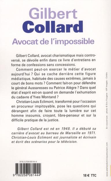 Avocat de l'impossible ; entretiens avec Christian-Louis Eclimont