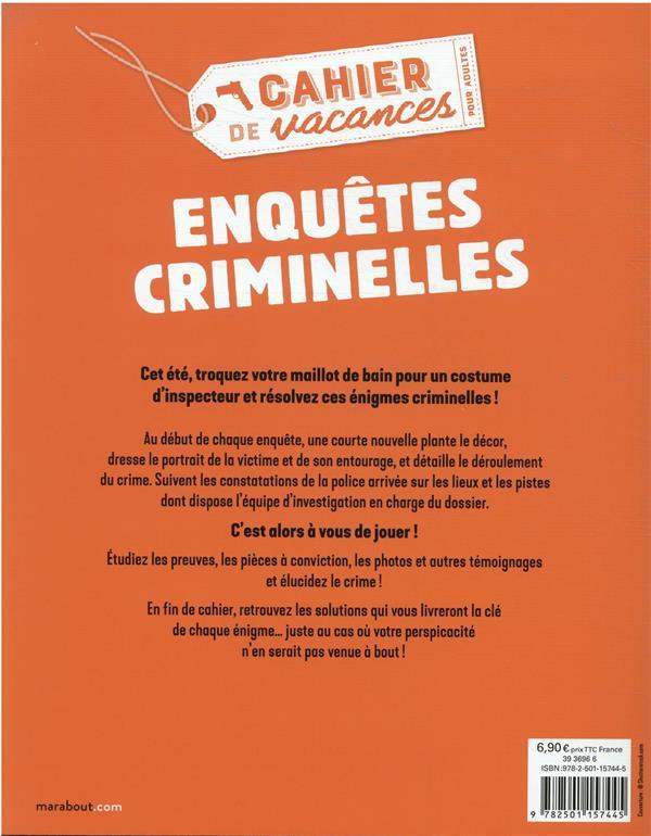 le cahier de vacances pour adultes ; enquêtes criminelles