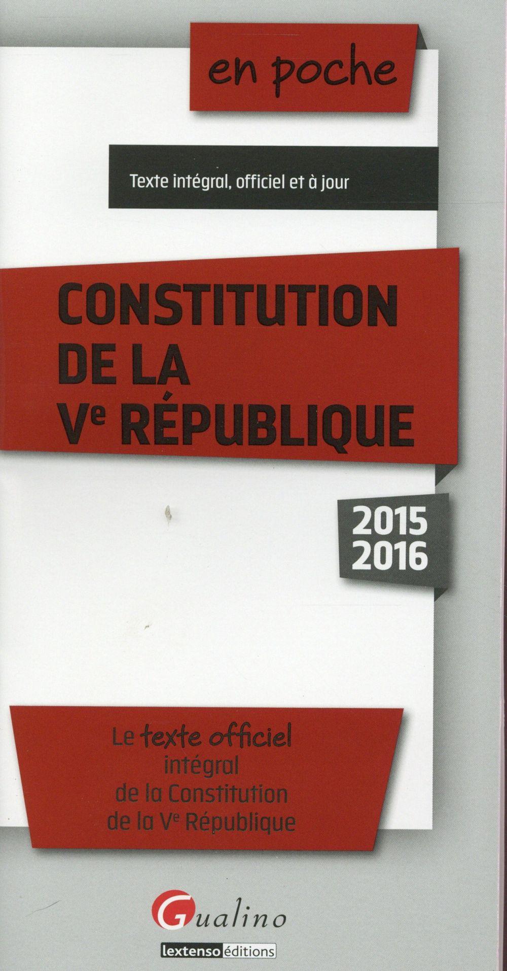 Constitution de la Ve République 2015-2016