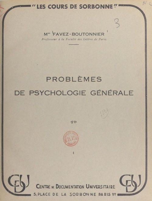 Problèmes de psychologie générale