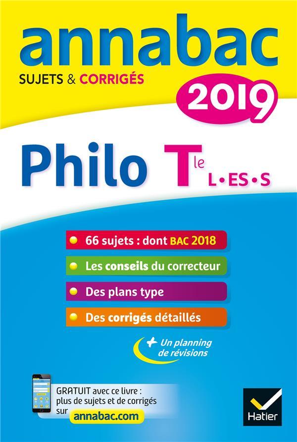ANNABAC SUJETS & CORRIGES ; philo ; terminales L, ES,S (édition 2019)