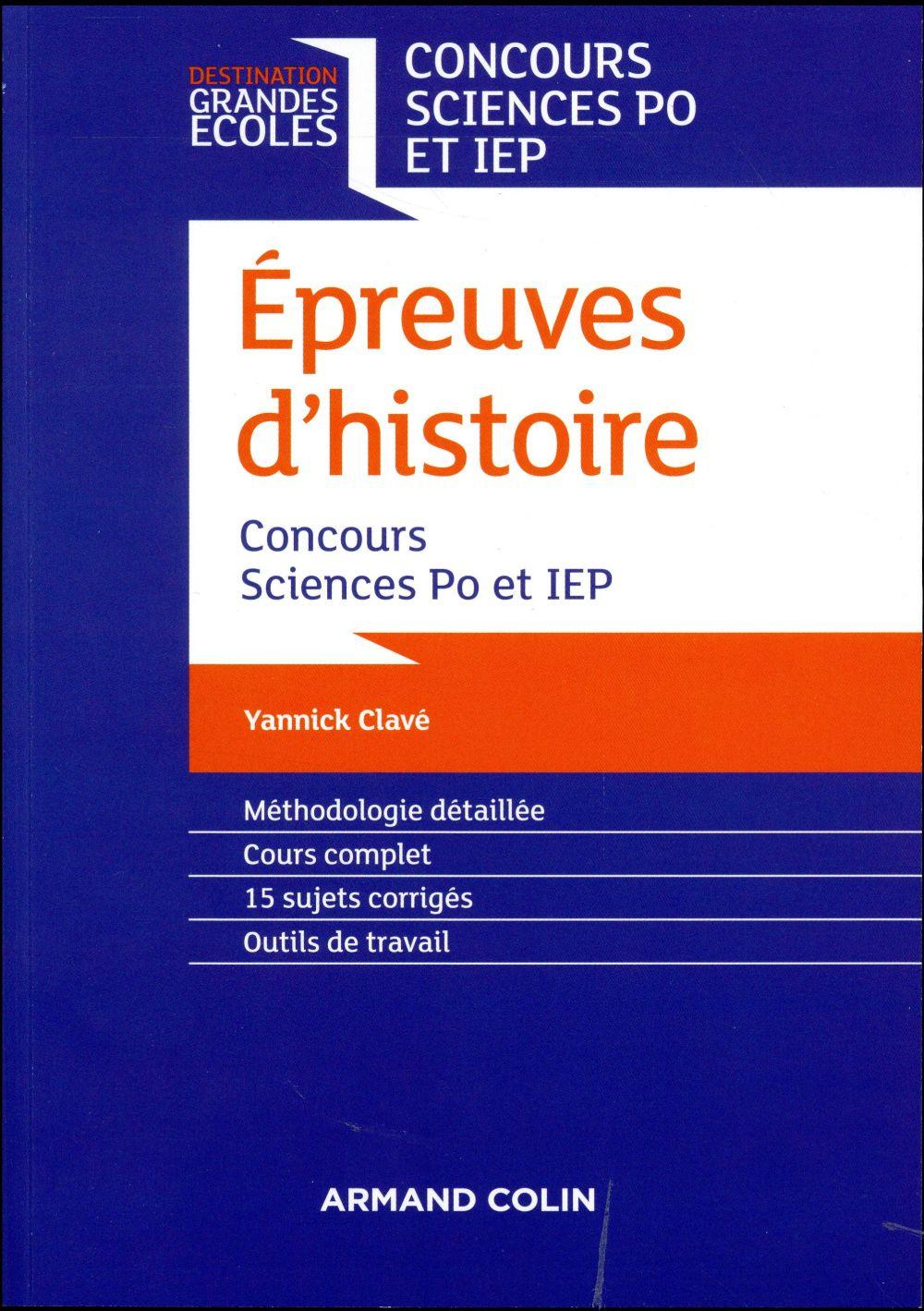 épreuves d'histoire ; concours Sciences Po et IEP