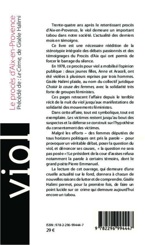 Viol, le procès d'Aix-en-Provence ; sténotypie intégrale des débats et des témoignages ; le crime