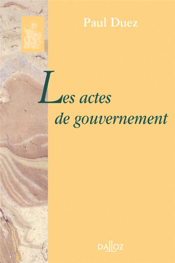 Les actes de gouvernement