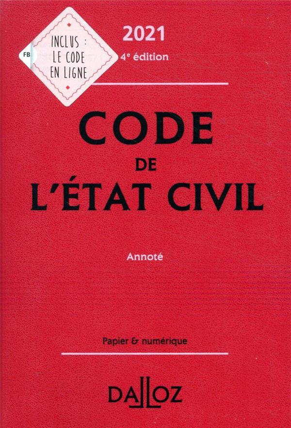 Code de l'état civil, annoté (édition 2021)