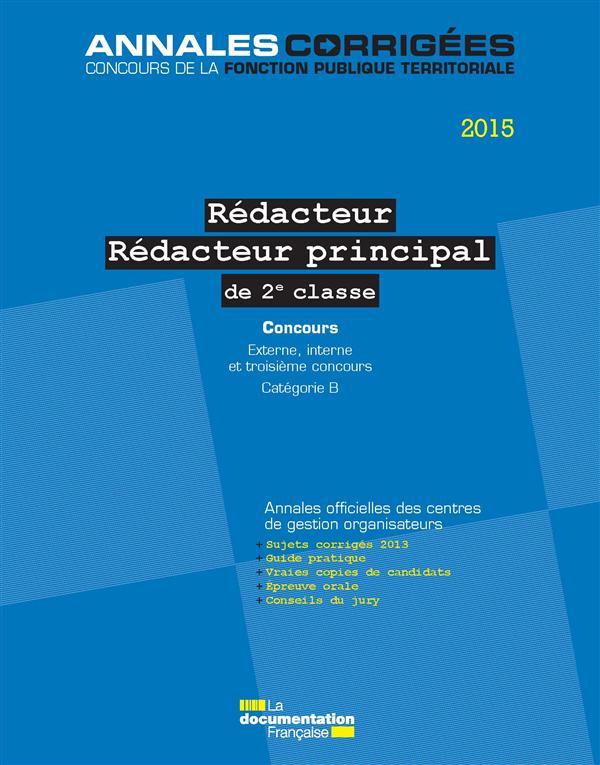 rédacteur-rédacteur principal ; 2e cl-concours (édition 2015)