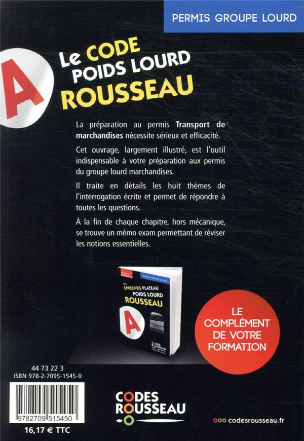 Code Rousseau ; codes transport de marchandises : groupe lourd
