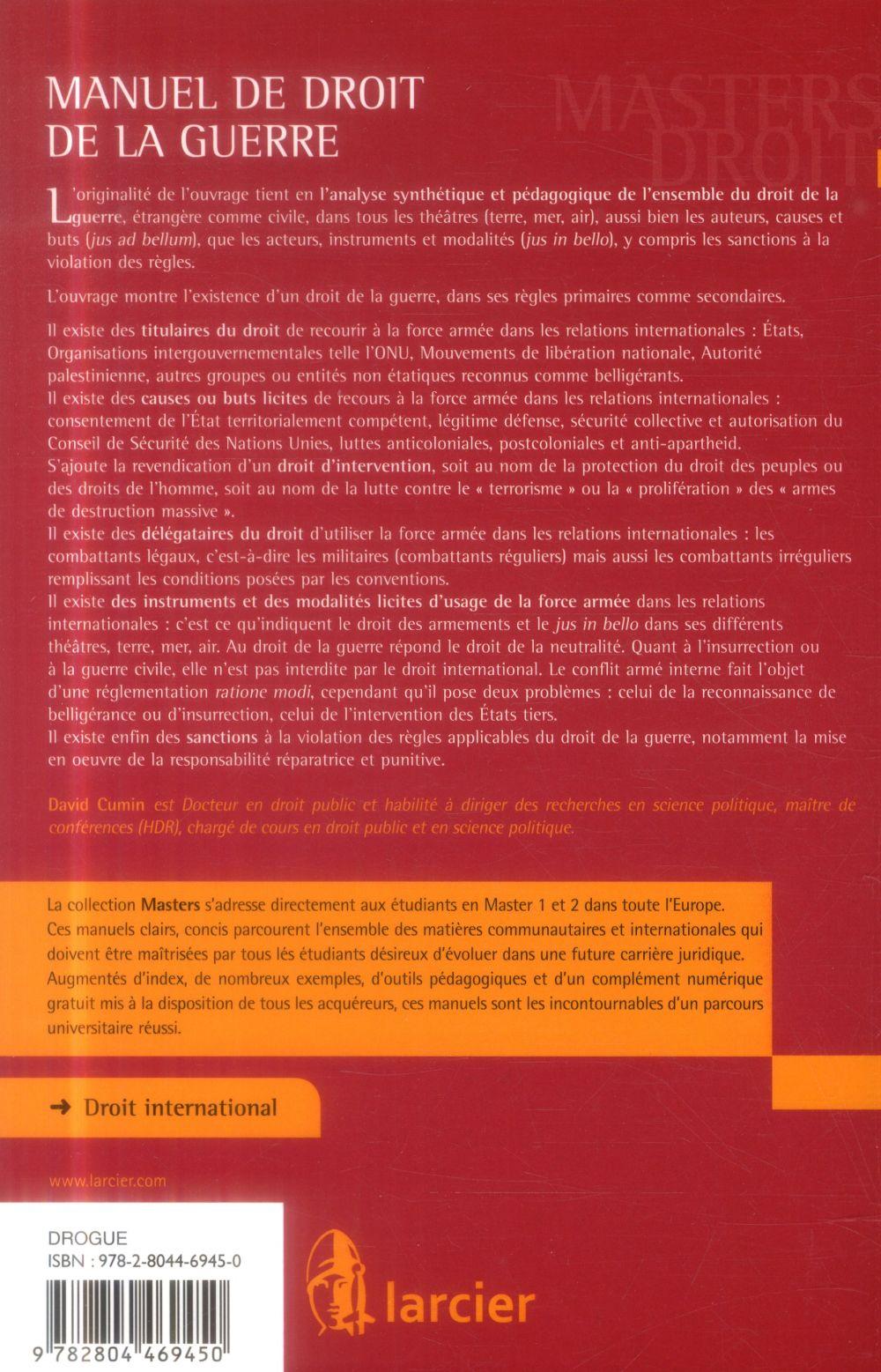manuel de droit de la guerre