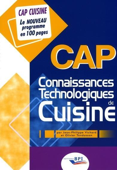 Connaissances Technologiques De Cuisine ; Cap