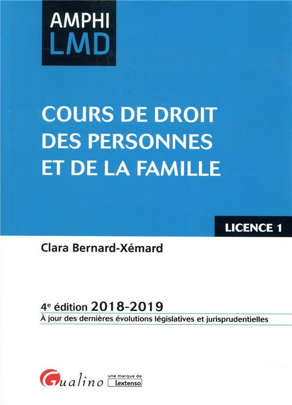 Cours de droit des personnes et de la famille (édition 2018/2019)